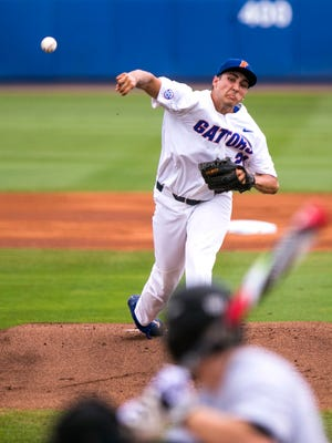 Florida pitcher Alex Faedo (21) takes the mound during the Super Regional against Wake Forest in Gainesville, Fla., on June 10, 2017.