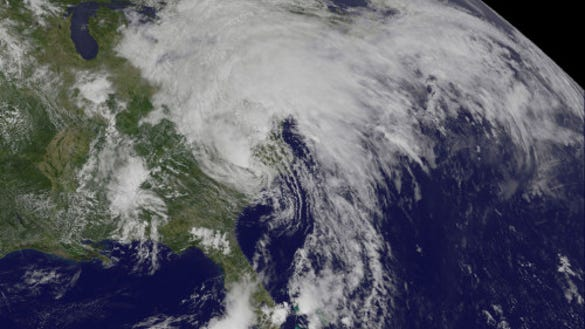 Tropical Storm Andrea on June 7, 2013 (Source: NASA/NOAA GOES Project)