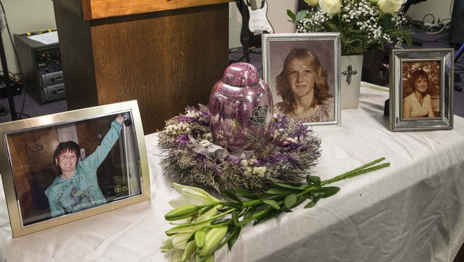 Family and friends say goodbye to Trina Heisch at her funeral service on Wednesday, August 26, 2015.