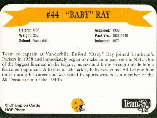 Packers Hall of Fame player Baby Ray