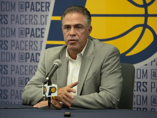Pacers president Kevin Pritchard greets the media after