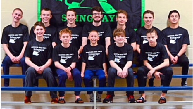 Back row, from left: Jack Raub, Trey Smith, Daniel Gordon, coach Zack Miller, Spencer Toth, Ryan West and Alan Flores. Front row, from left: Sean Filipovits, Nick Croghan, James Raub, Cole Smith and Cam Toth.