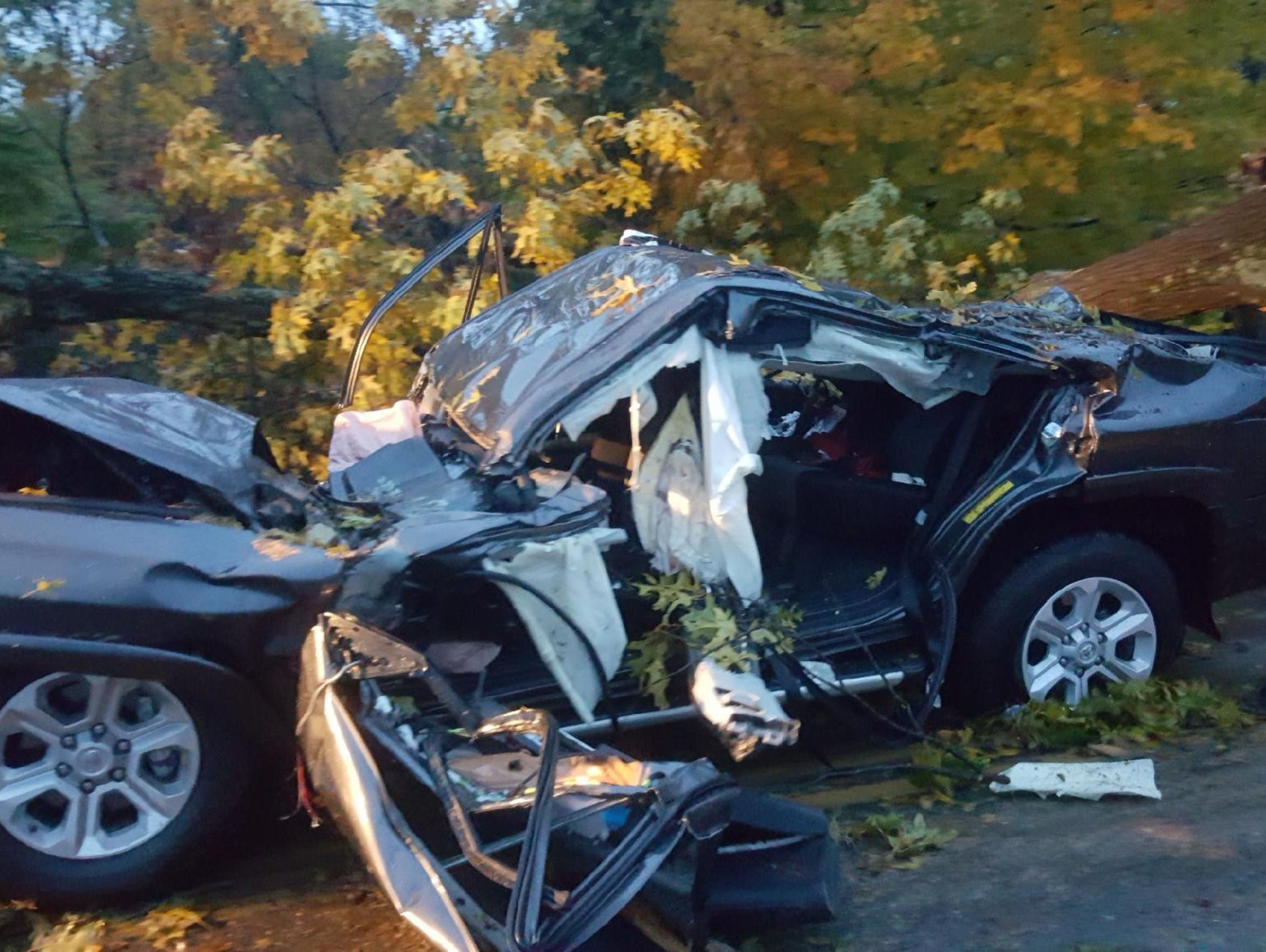 A side view of the the Wright family vehicle, a Toyota 4Runner, is seen after the family was extricated on Nov. 5.