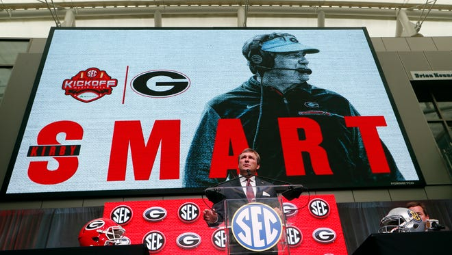Georgia head coach Kirby Smart speaks Southeastern Conference Media Days Tuesday, July 17, 2018, in Atlanta. (AP Photo/John Bazemore)