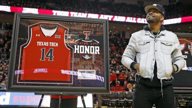 Andre Emmett is inducted into the Texas Tech Ring of Honor during halftime of an NCAA college basketball game against Texas, Monday, March 4, 2019, in Lubbock, Texas.