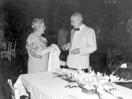 Mrs. Mina Edison and son Charles are pictured at  the Gladiola Queen's coronation ball during Edison Pageant of Light  in 1947.
