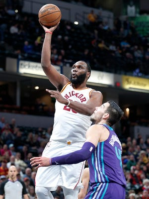Indiana Pacers center Al Jefferson (25) shoots over Charlotte Hornets center Willy Hernangomez (41) in the second half of their game at Bankers Life Fieldhouse on Tuesday, April 10, 2018. The Charlotte Hornets defeated the Indiana Pacers 119-93.