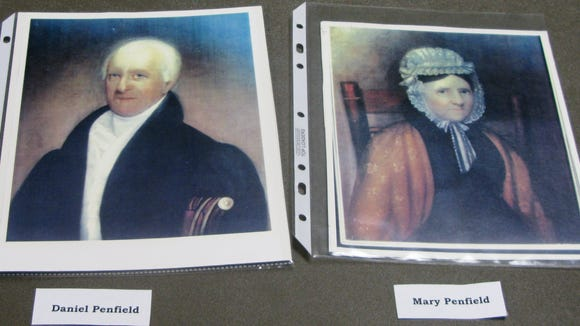 Portraits of Daniel Penfield and his wife, Mary. Penfield started off as an absentee landlord who eventually moved his family from New York City to the developing Town of Penfield.