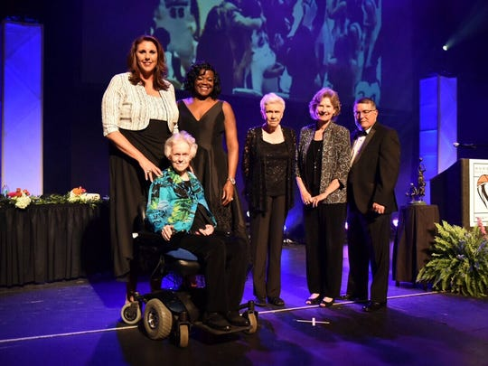 The Women's Basketball  Hall of Fame inducted the Class of 2017 on Saturday night at the Tennessee Theatre. From left, Louise O'Neal, Kara Wolters. Sheryl Swopes, Christine Grant, Sally Bell, and Rick Insell.