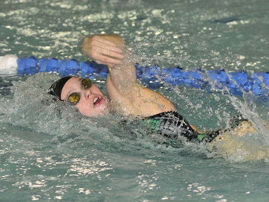 Jackie Thompson of Kinnelon swims in the 200 IM at