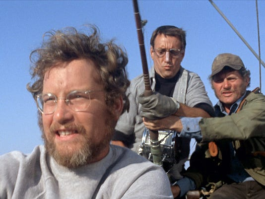 """Richard Dreyfuss, Roy Scheider and Robert Shaw in a scene from the 1975 motion picture """"Jaws."""""""