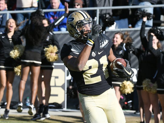 Anthony Mahoungou of Purdue with a touchdown reception in the second quarter against Indiana in the battle for the Old Oaken Bucket Saturday, November 25, 2017, at Ross-Ade Stadium.