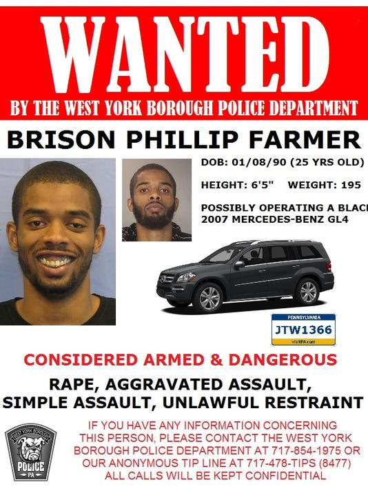 Brison Philip Farmer, 25, of Harrisburg, wanted for rape and assault.