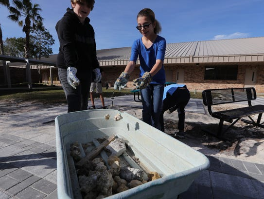 """Students of Al Piotter's STEM-scaping class at Trafalgar Middle School in Cape Coral, work together to clean up and transform an outdoor area of the campus into what they'll call """"Trafalgar Square"""". The area will be for mixed use purposes and was developed primarily with the assistance of the students."""