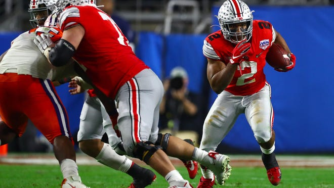 J.K. Dobbins of Ohio State seems a logical Dolphins target at the end of the first round or early in the second round of the NFL Draft.