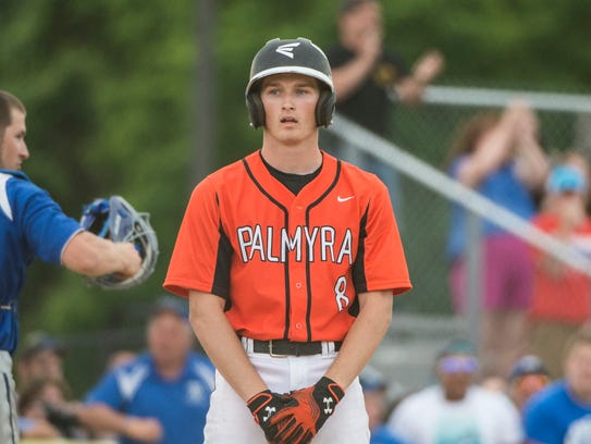Palmyra's Zach Yingst reacts after striking out to