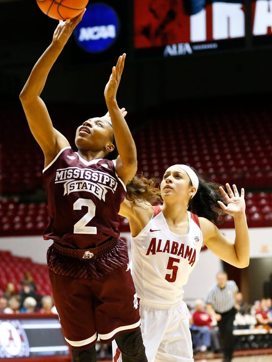 Mississippi State guard Morgan William shoots in front of Alabama guard Alana Da Silva during the first half of an NCAA college basketball game, Thursday, Jan. 19, 2017, in Tuscaloosa, Ala. (AP Photo/Brynn Anderson)