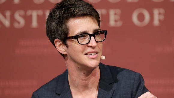 MSNBC political commentator Rachel Maddow is pictured