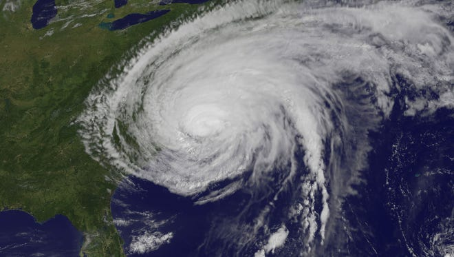 Powerful Hurricane Irene on August 27, 2011, two hours after making landfall in Cape Lookout, North Carolina.