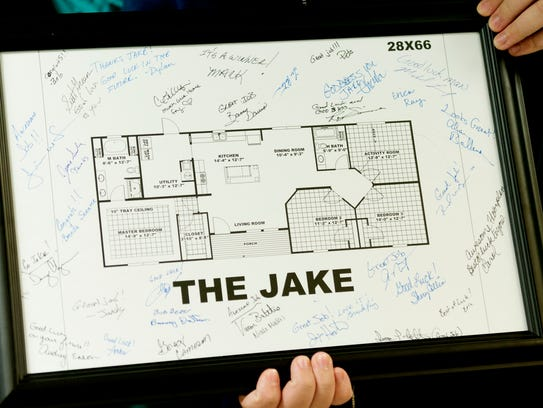 """The Jake"" home blueprint was printed and signed by"