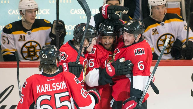 The Ottawa Senators celebrate the third period goal scored by right wing Bobby Ryan (6) in game against the Boston Bruins at the Canadian Tire Centre.