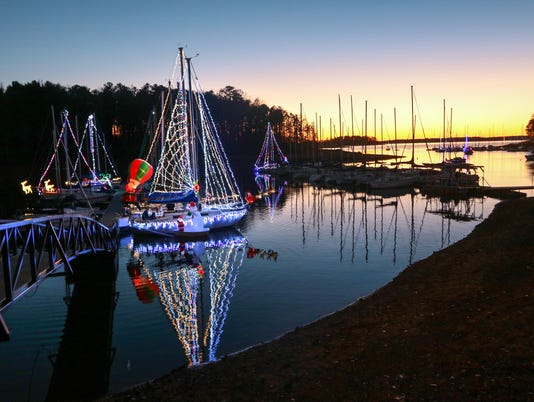 WCSC Parade of Lights boats on Lake Hartwell