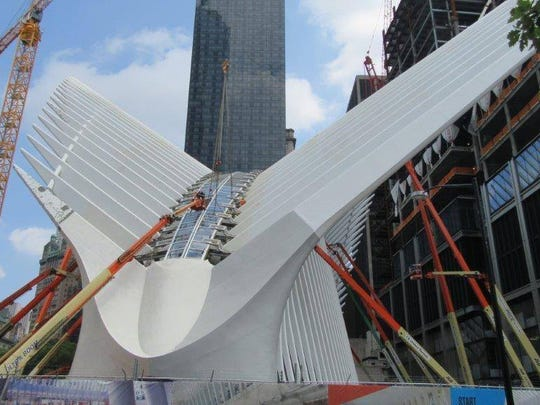 JLG ultra boom lifts help spruce up the new World Trade Center Transportation Hub, slated to open this December in New York City.