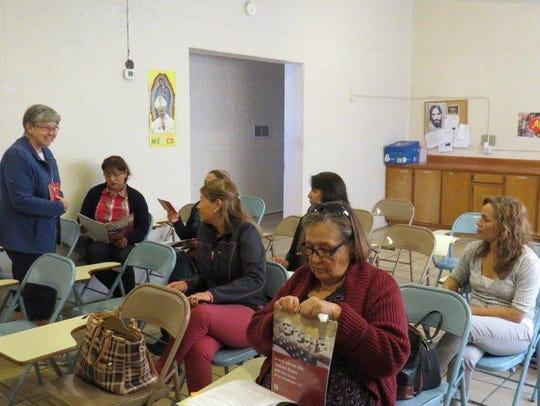 Sister Marilyn Bever teaches a citizenship class in