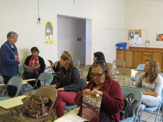 """Sister Marilyn Bever teaches a citizenship class in Douglas, Ariz. to a group of """"Lawful Permanent Residents."""""""