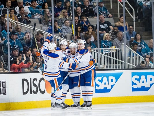 USP NHL: STANLEY CUP PLAYOFFS-EDMONTON OILERS AT S S HKN SJS EDM USA CA