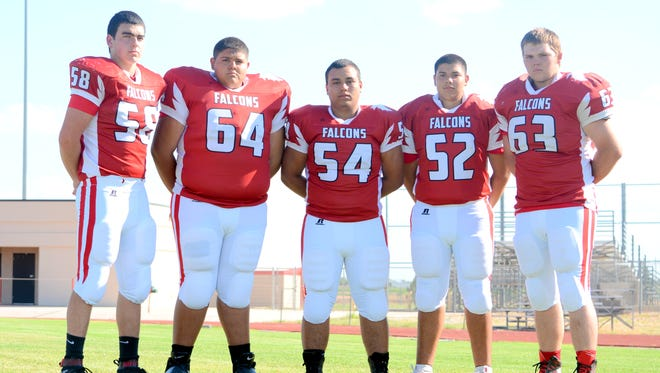 Loving's Steven Patton (58), Cisco Hernandez (64), Nick Brown (54), Cryis Hernandez (52) and Sam Cooksey (63) add stability returning to the offensive line for 2016.