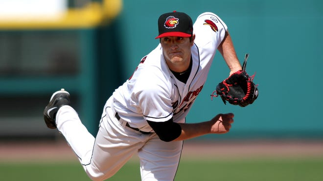 A.J. Achter, pitching here for the Triple-A Rochester Red Wings has  become the first former Spartan to play in the major leagues since Mark Mulder in 2008.