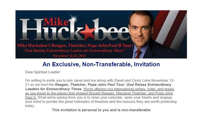 Screen shot of Mike Huckabee's invitation to Iowa evangelical leaders for a trip to Poland and England in November.