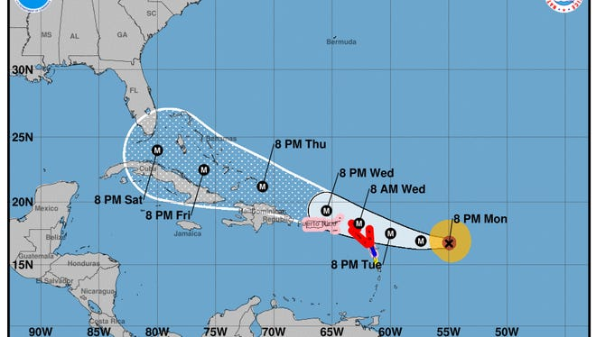 Hurricane Irma forecast cone as seen at 11 p.m. on Monday, Sept. 4, 2017.
