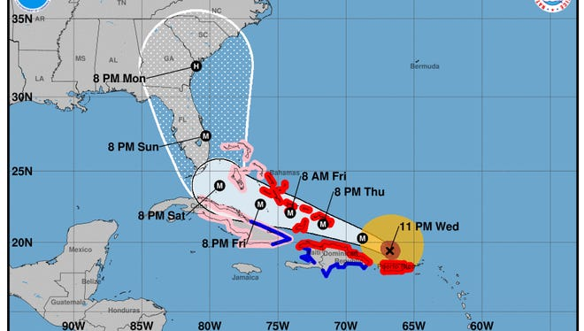 Forecast cone for Hurricane Irma as of 11 p.m. Wednesday, Sept. 6, 2017.
