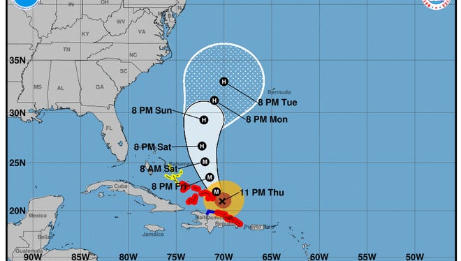 Projected path of Hurricane Maria as of 11 p.m. Thursday, Sept. 21, 2017.