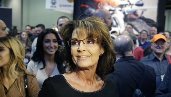 "Former Alaska governor Sarah Palin attends an event to promote her TV show, ""Amazing America with Sarah Palin,"" on Jan. 22, 2015, in Las Vegas."