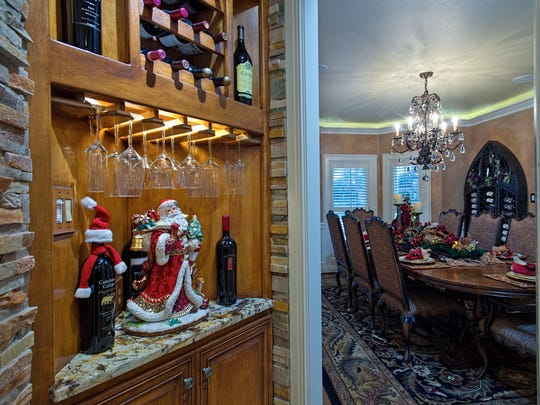 The perfect corner spot in the kitchen for Santa, wine and wine glasses on the way to the dining room