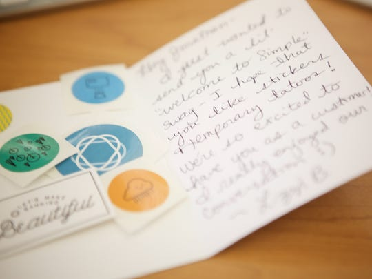 A handwritten note that will be sent out to a Simple