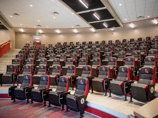 The largest room in the Ron and Joan Venderly Football Center at Ball State University is the team's new meeting space.