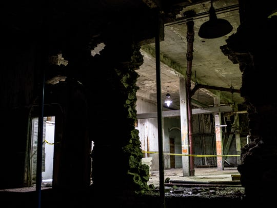 An interior wall of the old water plant on Michigan Street near Pine Grove Park has partially collapsed. An overlook on the structure, which was built in 1872, is closed while a study is conducted to determine the safety of the structure.