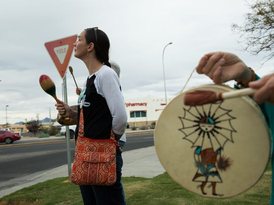 Christina Roy protests the Dakota Access Pipeline, in solidarity with those that are protesting in North Dakota. Roy was among many from local groups protesting in Las Cruces including the Unitarian Church, whose pastor The Rev. Suzanne Redfern-Campbell, went to North Dakota to take part in those ongoing protests against the  pipeline.