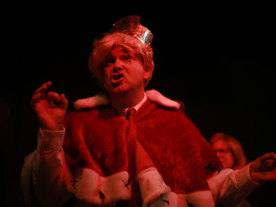 Delray Miller as Donald Trump practices the song Angy-White-Manistan for the Mickee Faust Club's Inaugural Bawl: a night of songs, skits, and satire to be held the night of Jan 20 to mark the inauguration of the 45th president of the United States.
