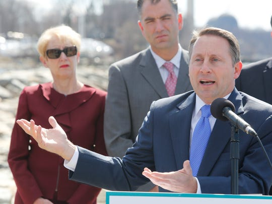 Westchester County Robert Astorino announced a lawsuit against the State of New York to stop the closure of Indian Point at a press conference at Riverfront Green in Peekskill on Apr. 5, 2017.