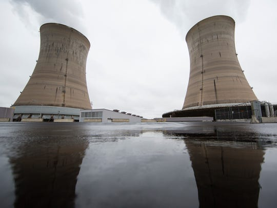 Shown are a cooling towers at the Three Mile Island
