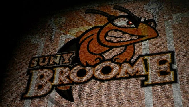 An image of the SUNY Broome logo during the LUMA Projection Arts Festival
