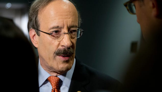 Rep. Eliot Engel, D-N.Y. talks with media before entering a closed members-only briefing on Syria on Capitol Hill on Sept. 1.