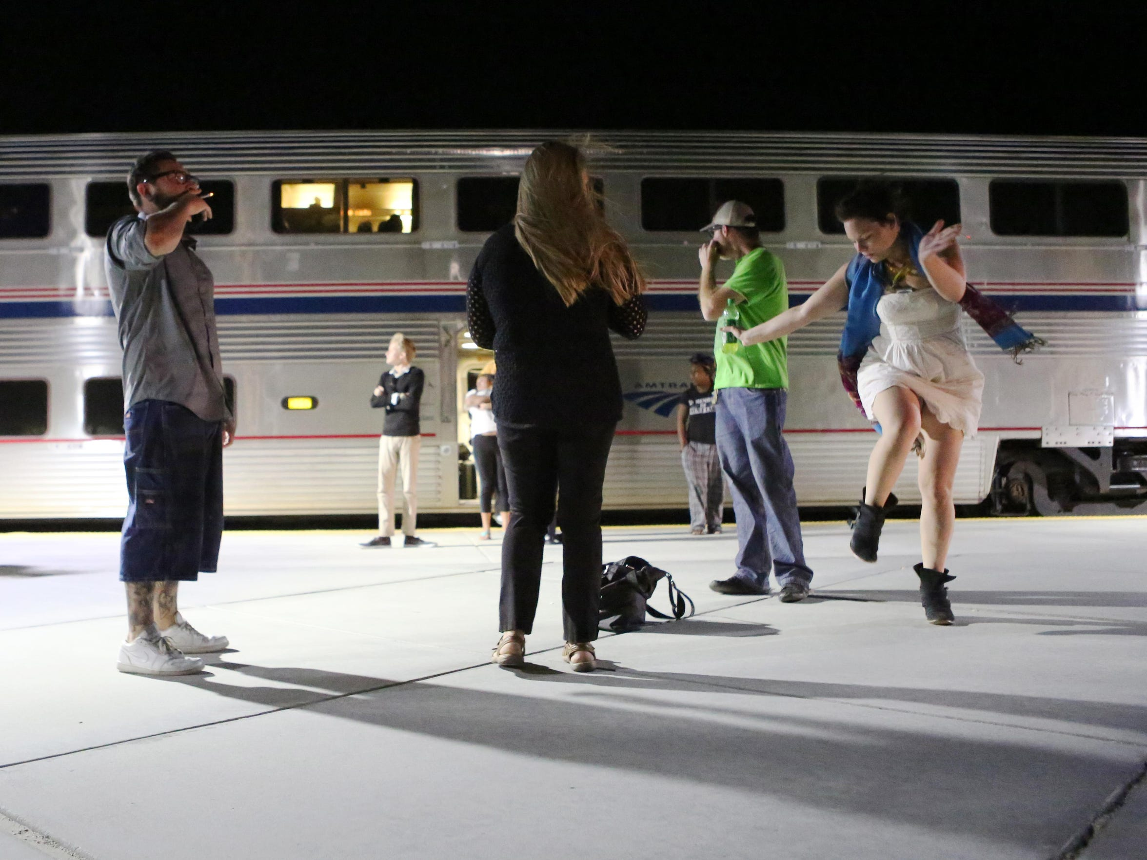 Passengers enjoy a brief stop at Palm Springs North