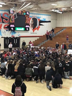 Hundreds of students from Lincoln and Washington high schools joined after a rivalry district basketball game Tuesday, Feb. 28, 2017, to pray for Kareem and Kaden Cisse. Kareem was killed in a car accident Feb. 22. Kaden was injured in the same crash.