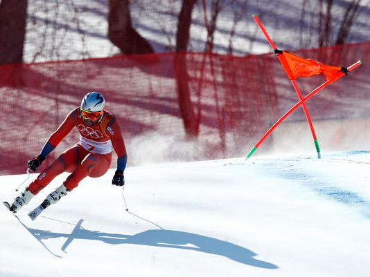 Norway's Aksel LundSvindal skis during the men's downhill at the 2018 Winter Olympics in Jeongseon, South Korea, Thursday, Feb. 15, 2018. (AP Photo/Patrick Semansky)